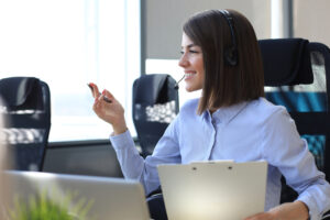 Business Woman on Phone Using Call Logging